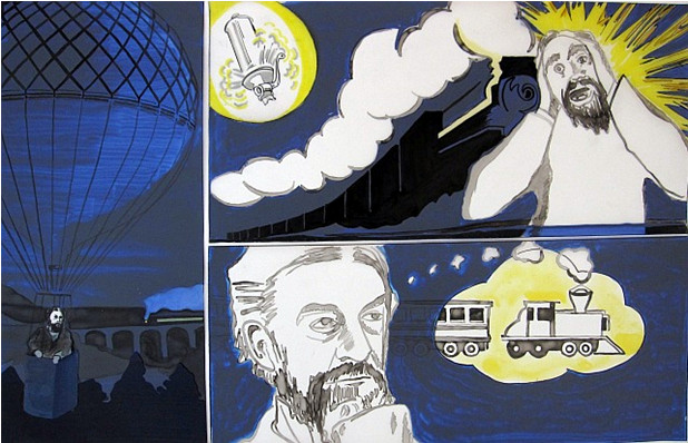 Figure 1: States of consciousness: Peirce daydreaming in the balloon (Artist: Lisa Gronseth)