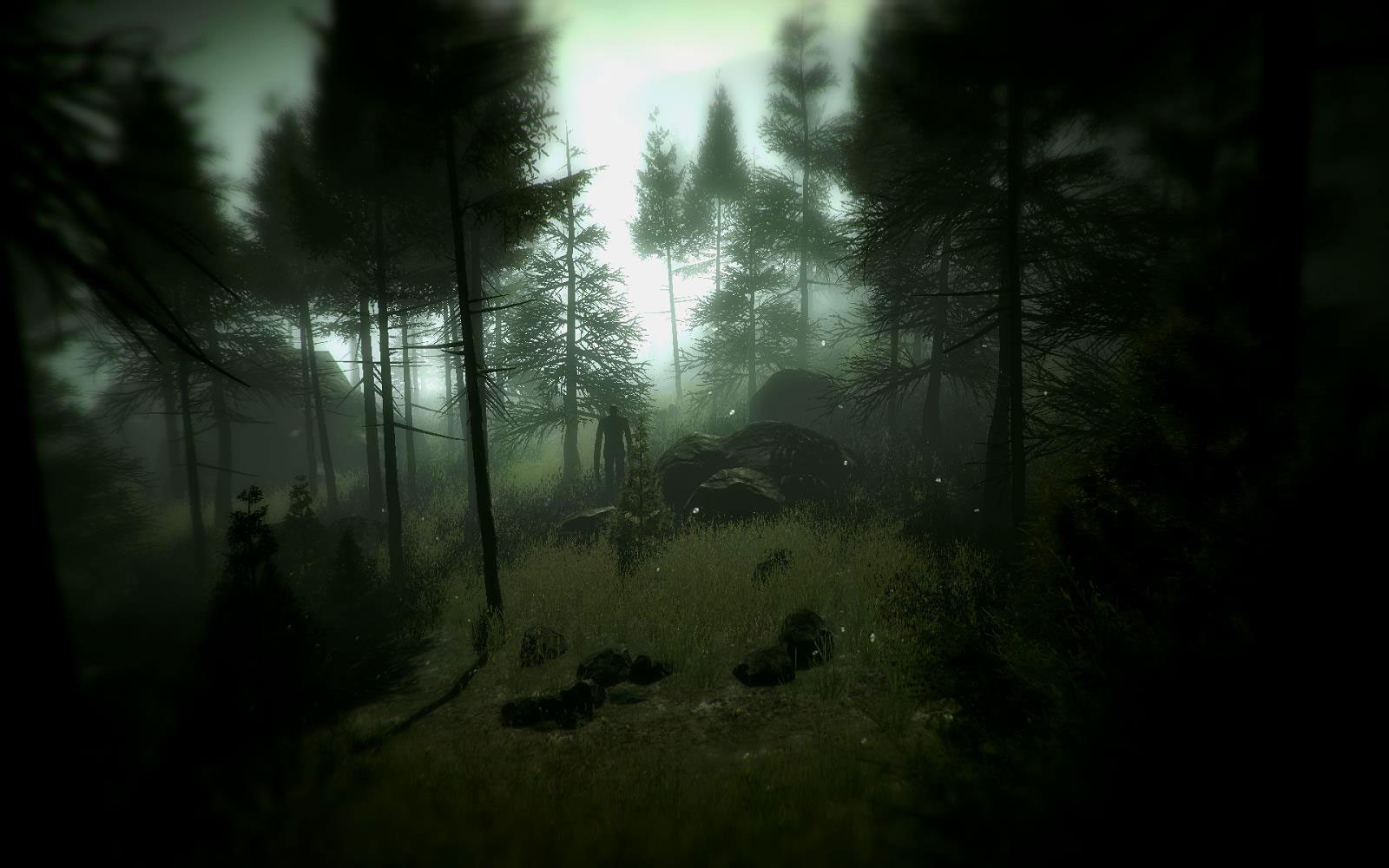 """Slender Man as he appears in """"Slender: The Arrival."""" Image used with permission. (http://www.slenderarrival.com/images/gallery/forestfog.jpg)"""