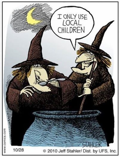 "Frontispiece image: Two witches around a cauldron, one is tasting the contents, the other says ""I only use local children""."