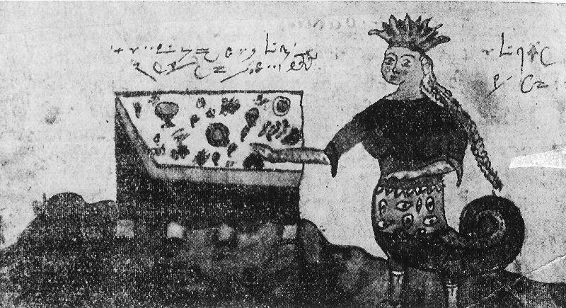Figure 2. Representation from a 15th-century manuscript (Delatte 1927: 600) where it bears the title, 'This is the table of the Beauty of the Mountains.' In the accompanying text one is instructed to make offerings of honey and sweets to the Beauty on the first of August. She will be pleased and grant one's wish.