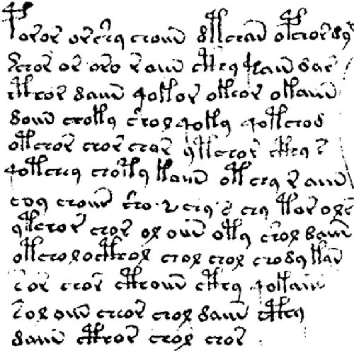 Fig. 1: Detail from MS 408, aka The Voynich Manuscript