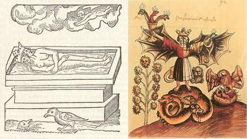 Figs.12-13: Images from the Rosarium Philosophorum, an alchemical series of woodcuts originally appearing in volume two of De Alchimia opuscula complura veterum philosophorum (Frankfurt: 1550).