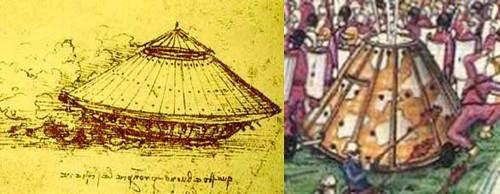 Figs. 23-24: (L) Detail of da Vinci's Tank from the Codex Arundel; (R) Detail of Serafini's Tank