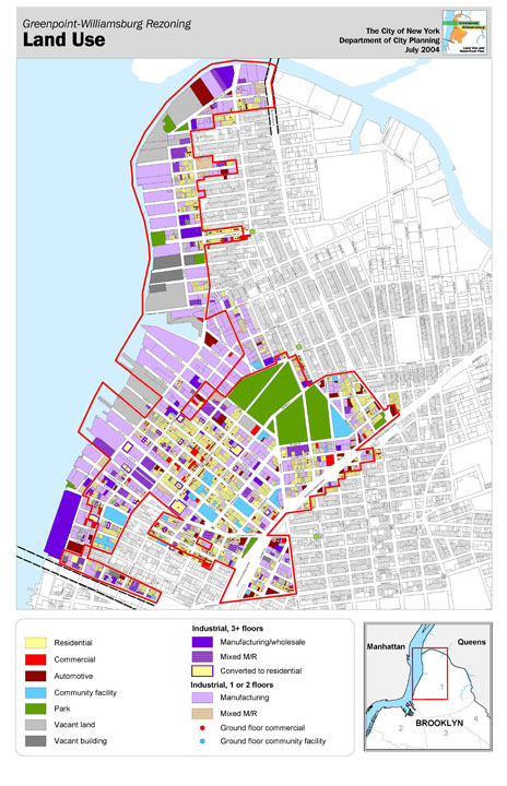 Figure 4. Existing Land Use Map, Greenpoint-Williamsburg Rezoning (New York City Department of City Planning 2004).