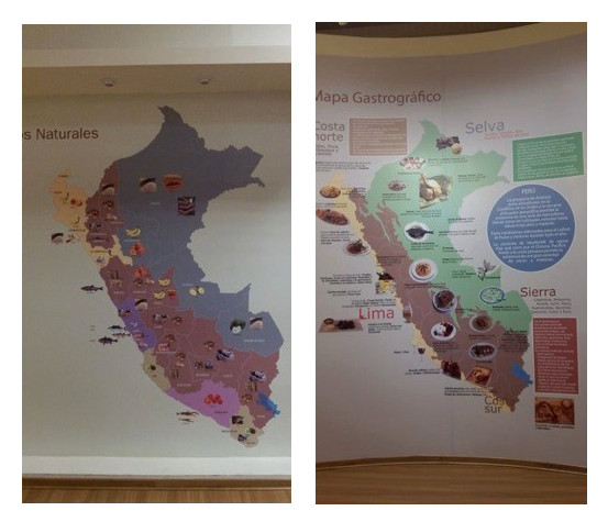 Figure 3. Displays at Peru's gastronomy museum circa 2011, mapping Peru according to natural culinary resources (left) and typical dishes (right)