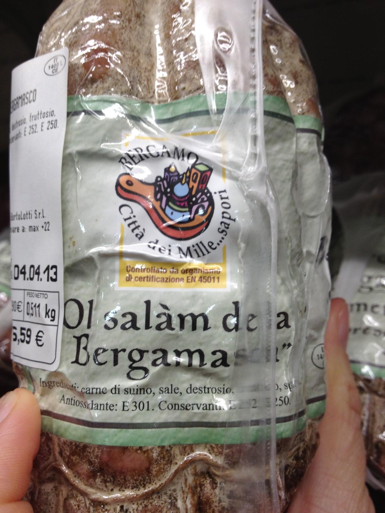"""Figure 8. """"Ol Salàm de la Bergamasca""""—Official Bergamasco Salami (author 2013)."""