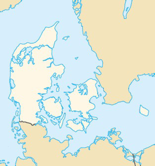 Figure 1. Map of Denmark (white), showing parts of Southern Sweden, Northern Germany, and North-Western Poland. Bornholm is the encircled island furthest to the east.