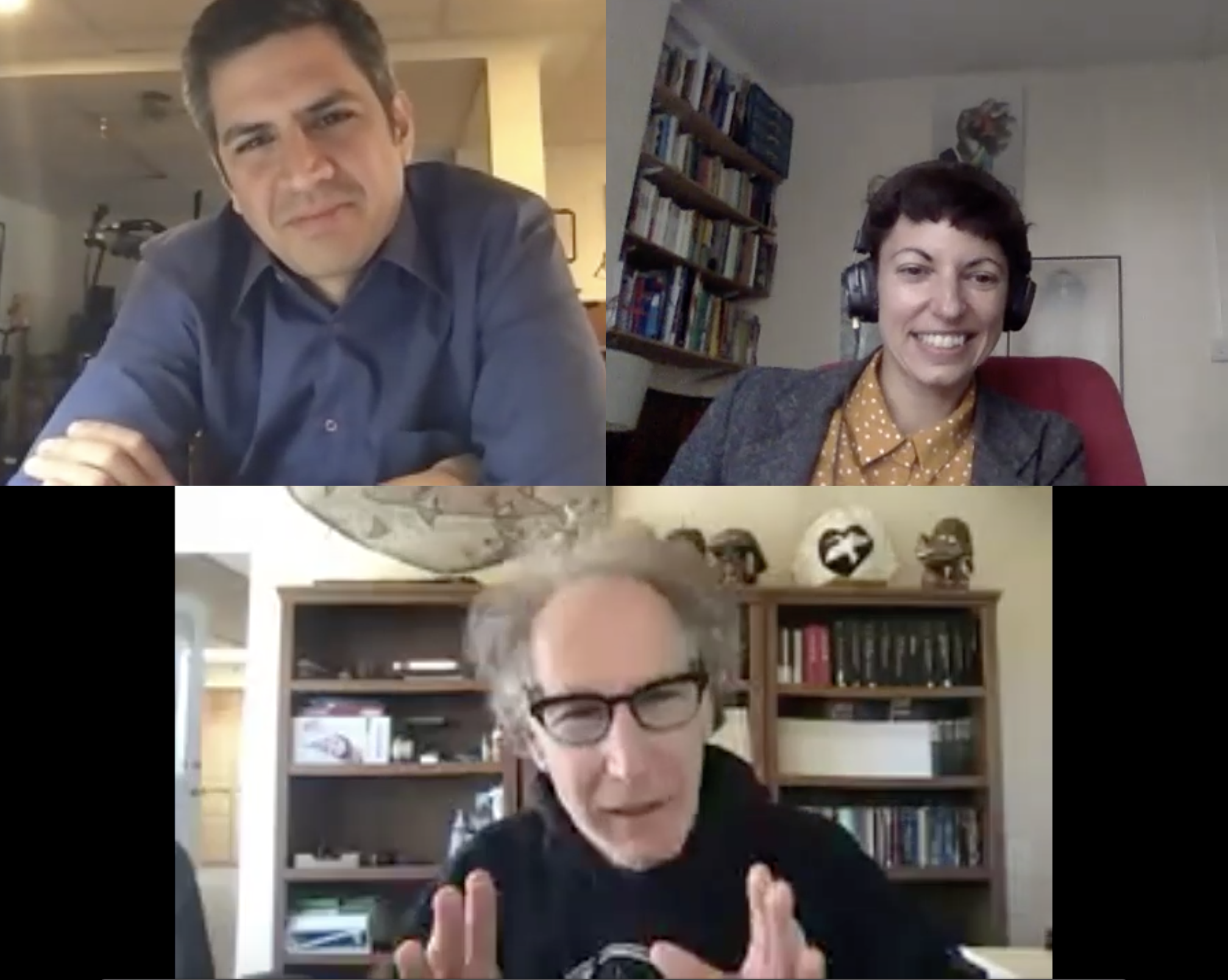Figure 0. Costas Nakassis (CN; top-left), Meghanne Barker (MB; top-right), and Steven Feld (SF; bottom); 4 May 2020, online in Chicago, Illinois, Santa Fe, New Mexico, and London, England.