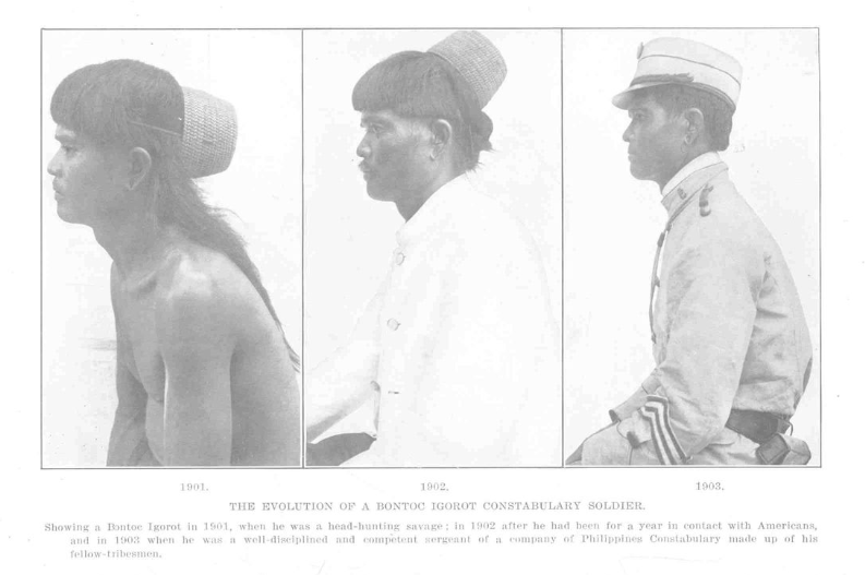 Figure 4. The Evolution of a Bontoc Igorot Constabulary Soldier; from Worcester 1910:20.