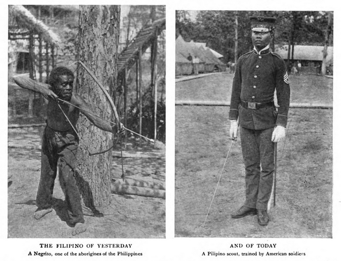 Figure 8. The Filipino of Yesterday and of Today; from Newell 1904:5133.