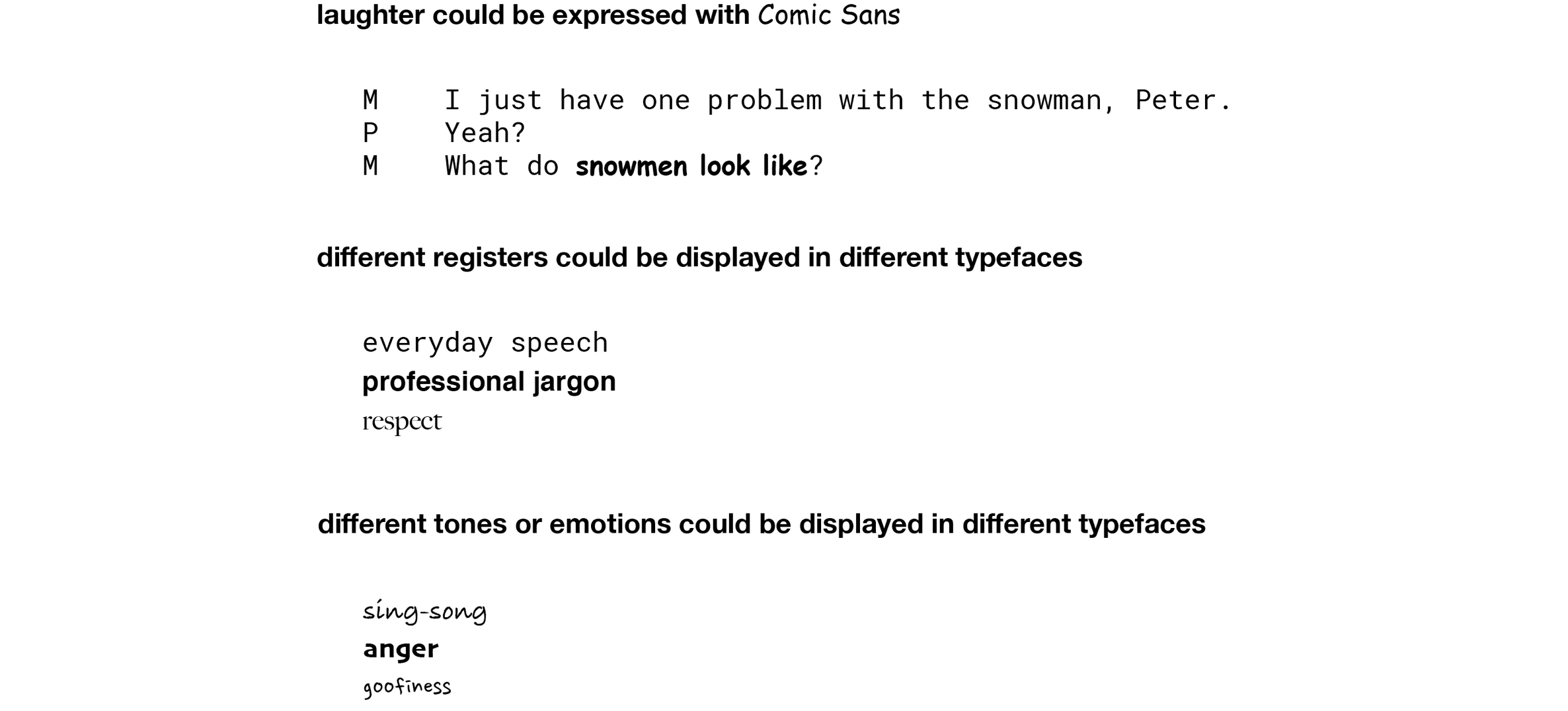 Example 4. Using different fonts to mark different aspects of transcribed discourse