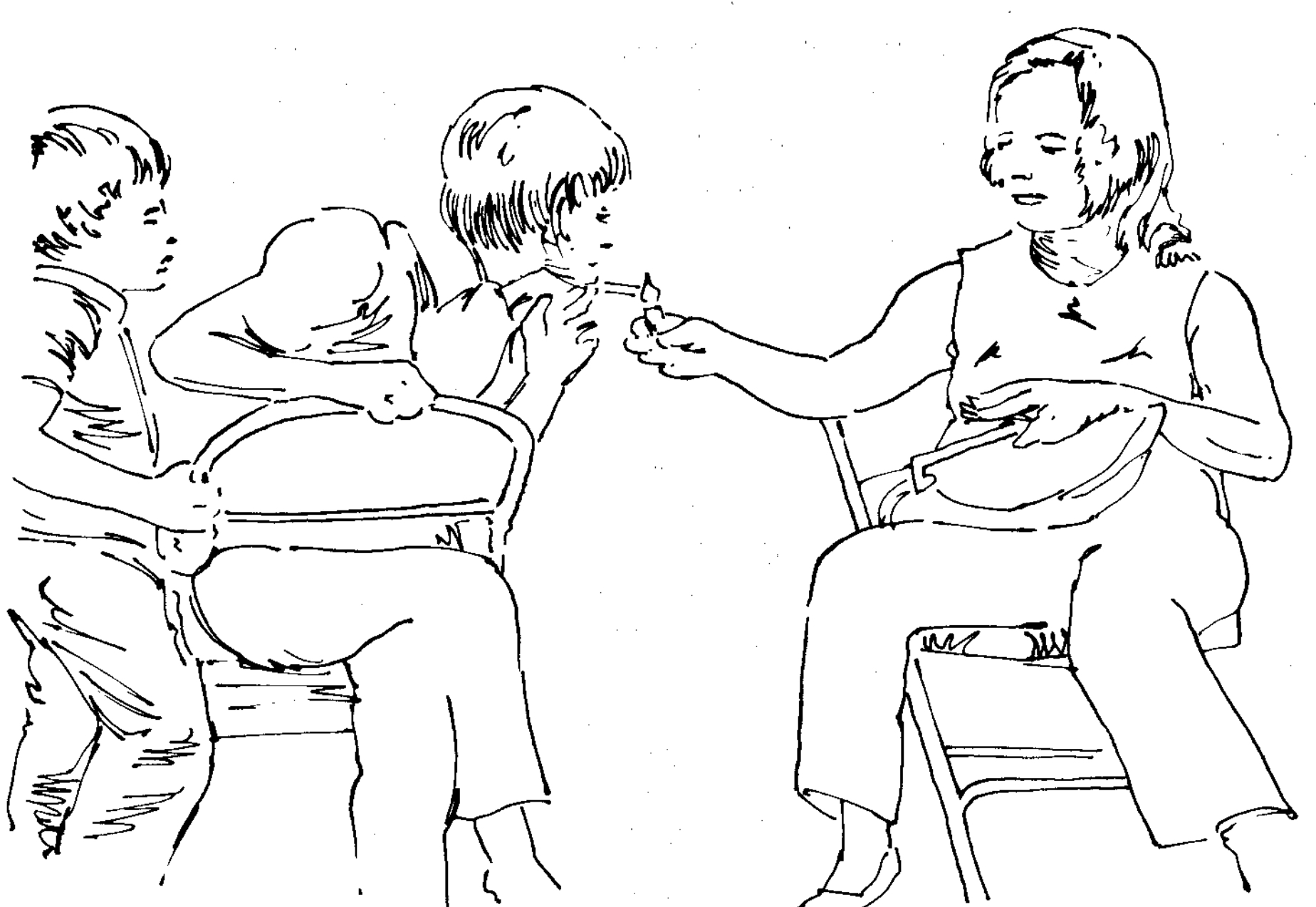 Example 7. An early use of line drawings used with transcription; from Goodwin 1981:147