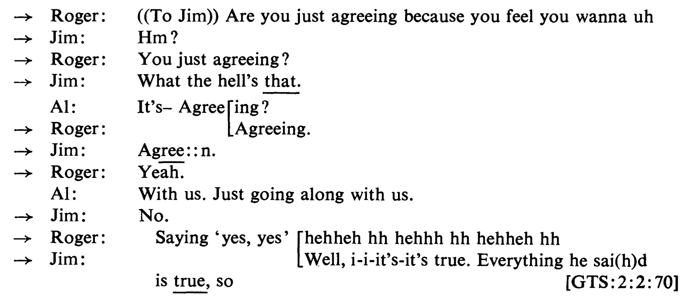 Example 16. A transcript and its impression; from Sacks et al. 1974:708