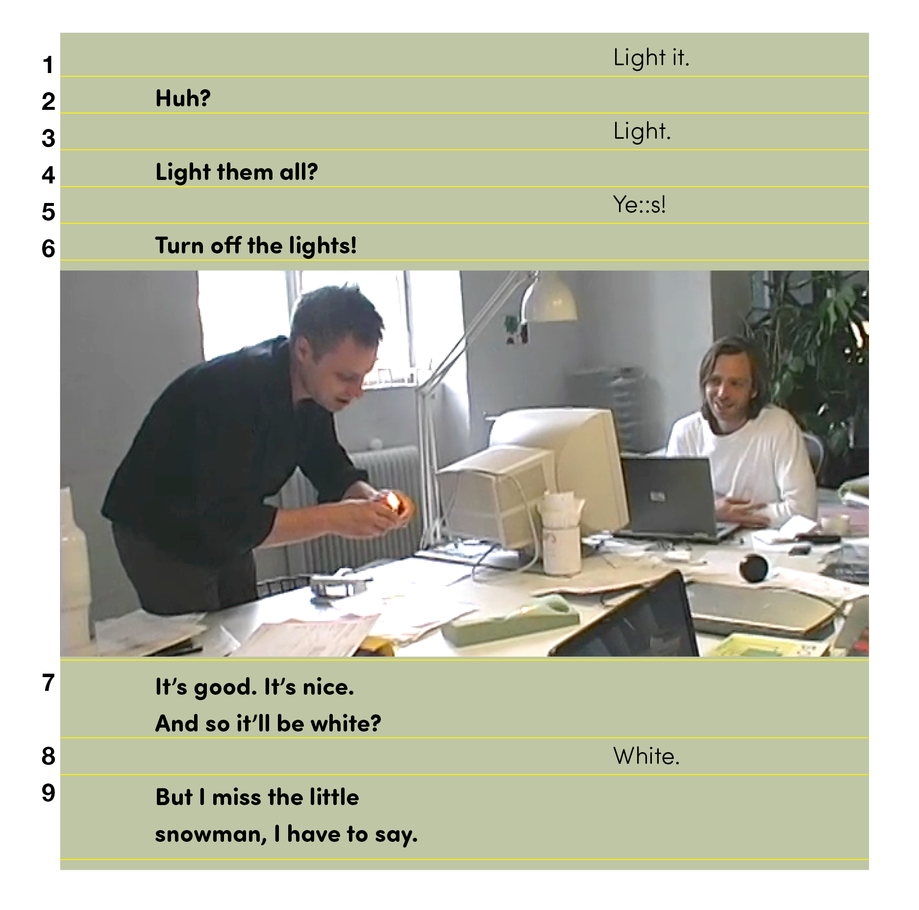 Example 20. Using background color, typeface, and columns to echo visual image in transcript