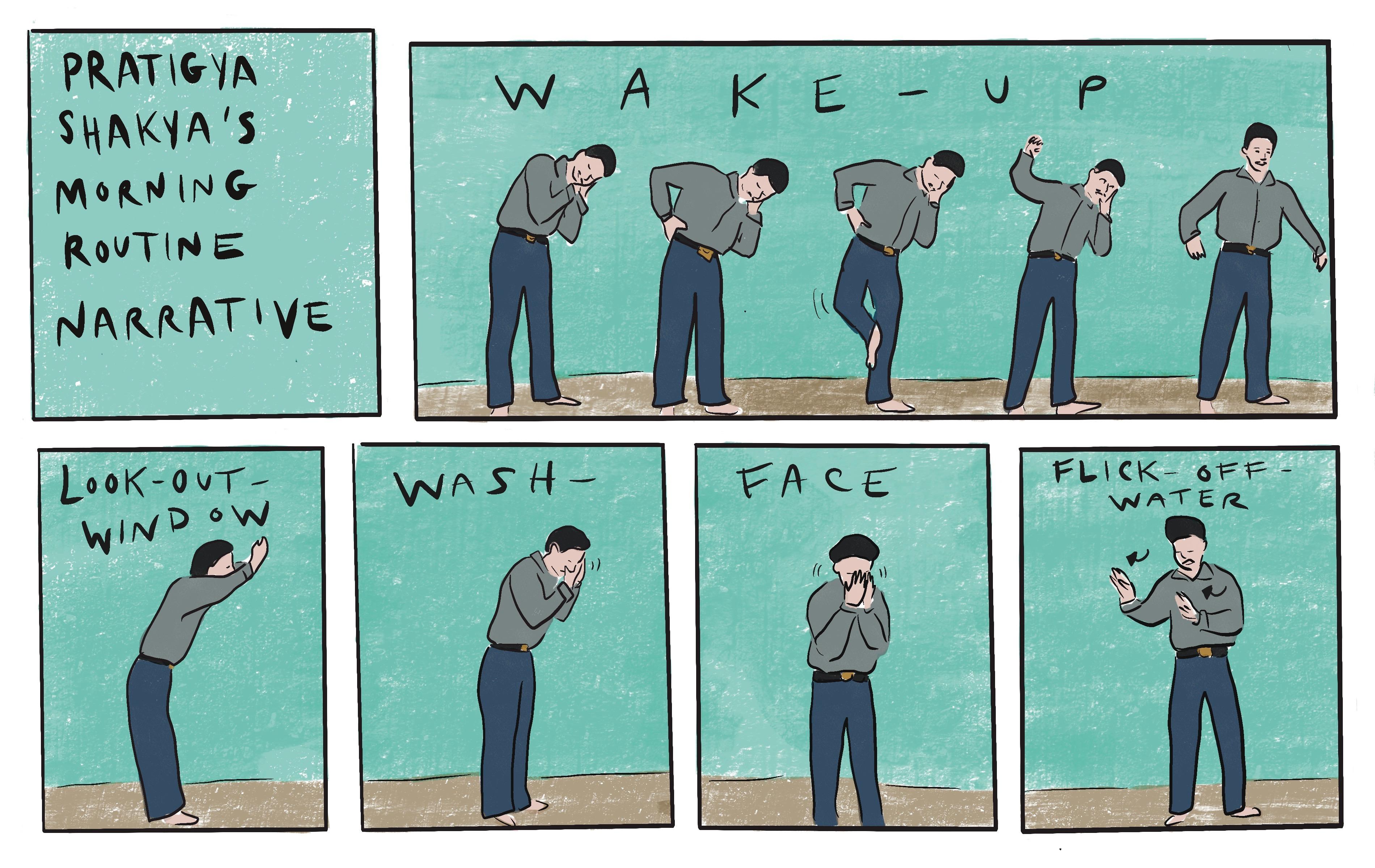 Figure 8. Pratiga Shakhya's Morning Routine Narrative. Illustrations by the author.