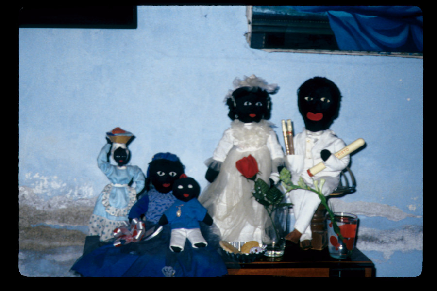 Figure 15. Close-up of Mirta's muertos africanos or African spirits, posed as a family atop a large television set in her living room, Santiago de Cuba, May 2000.