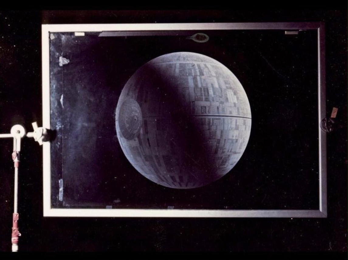 Figure 4. Photograph of Matte painting for the Death Star by Ralph McQuarrie, Star Wars, George Lucas (1977)