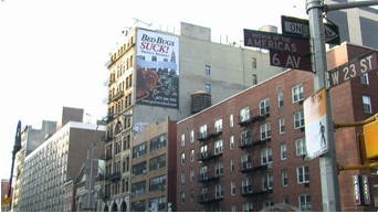 "Image: Billboard in NYC saying ""Bed bugs SUCK!"""