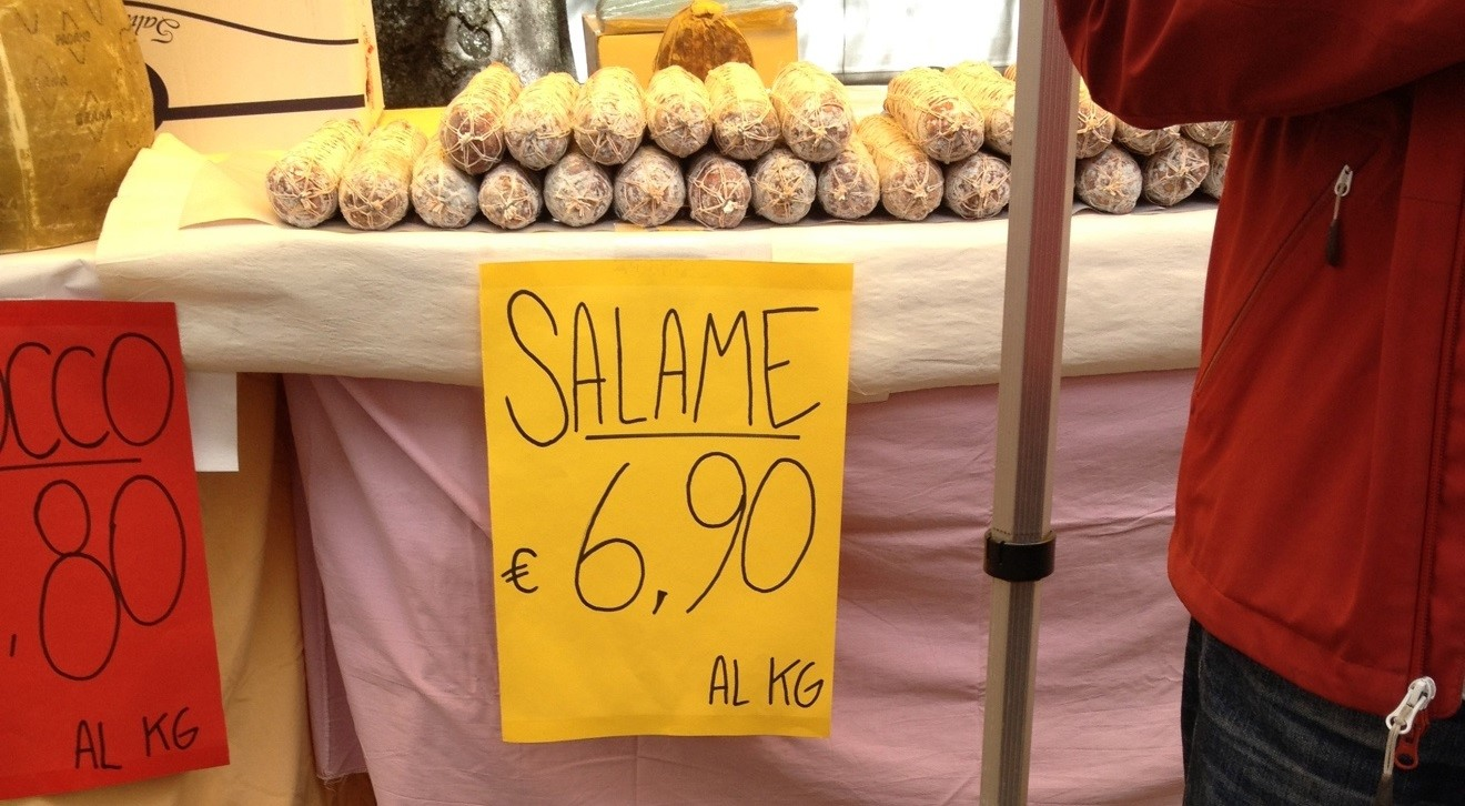 "Salame from ""Nowhere"", handwritten sign at market"