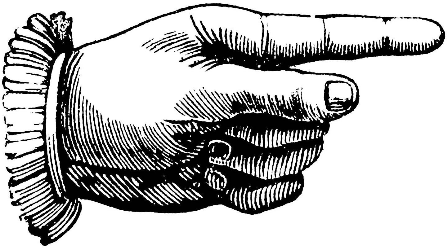 Engraving of a hand with index finger pointing to the right
